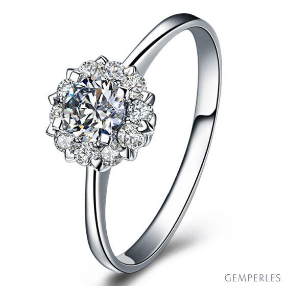 Solitaire coeur caillouté - Or blanc - Pavage diamants 0.43ct