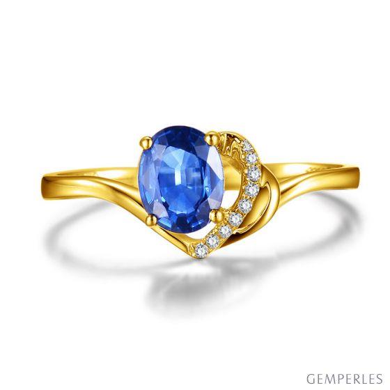 Bague Solitaire - Saphir et Diamants - Or jaune 18 carats