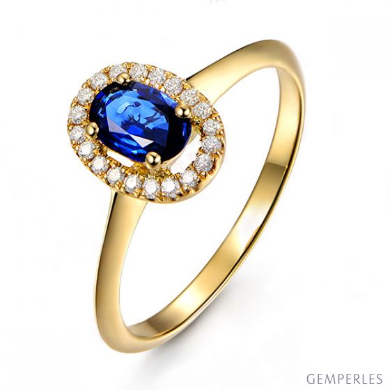 Bague or jaune saphir. Pavage diamants. Persée