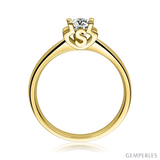 Bague avec initiale S - Solitaire or jaune diamant