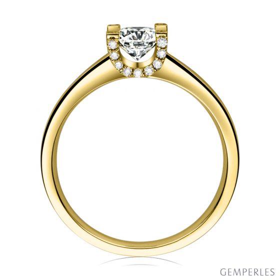 Bague lettre de l'alphabet - Initiale U ou C - Or jaune, diamants