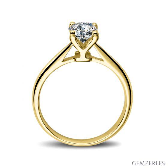 Bague lettre alphabet Y - Diamant, or jaune