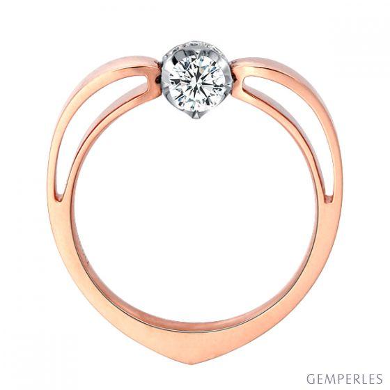 Solitaire anneau bombé - Or blanc et rose - Couronne diamants 0.18ct - 2