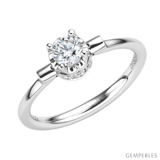 Bague solitaire pendentif or blanc - Diamants sertis griffes, grains