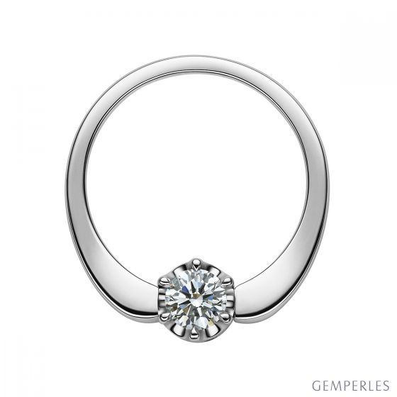 Bague solitaire or blanc 750/1000 - Pendentif Diamants sertis 0.36ct