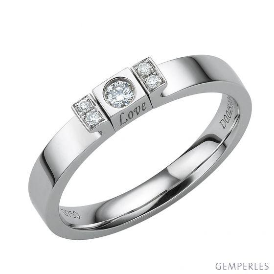 Solitaire pendentif Love - Or blanc, diamant 0.15ct
