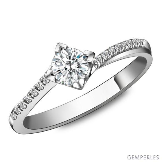 Solitaire bague liseré diamanté - Or blanc 750/1000