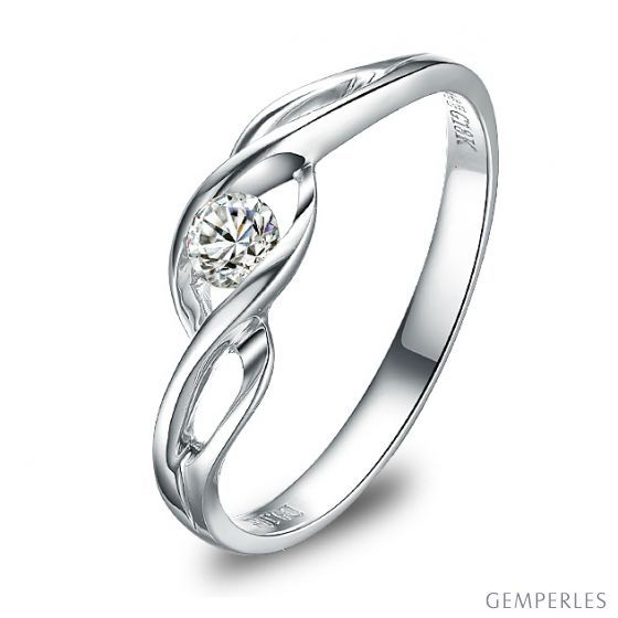 Solitaire diamant maille croisée - Or blanc