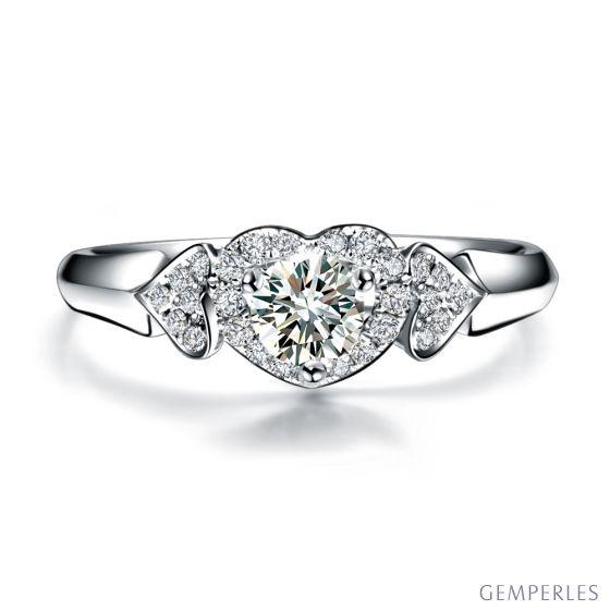 Bague solitaire 3 coeurs or blanc - Diamants 0.30 carat