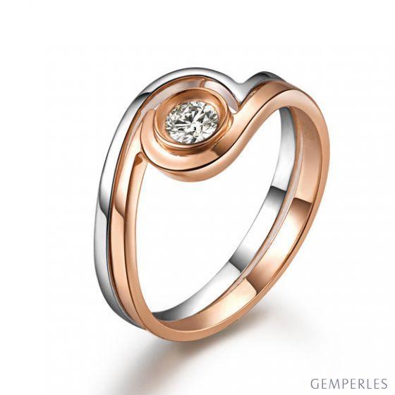 Solitaire diamant contemporain - 2 anneaux or rose et blanc