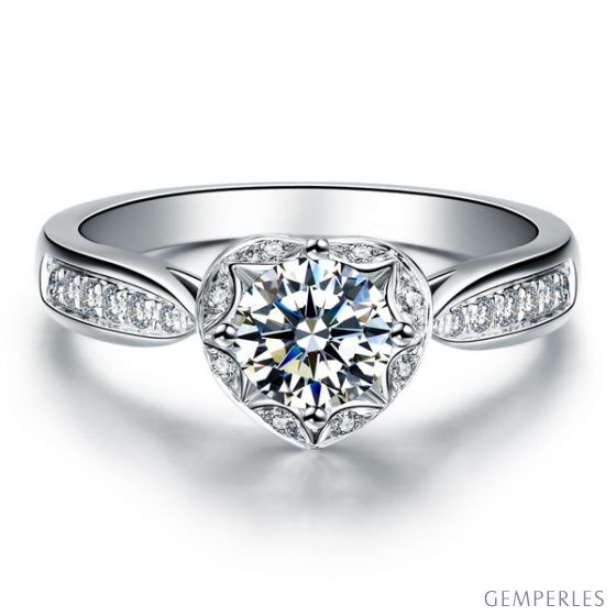 Solitaire Or blanc 18 carats  - Diamants