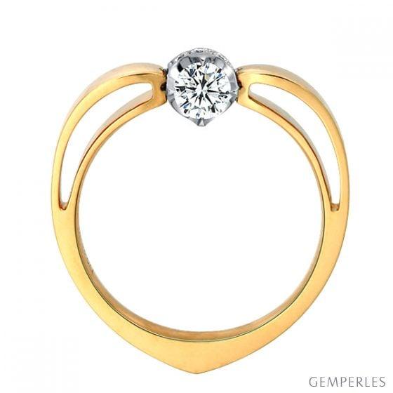 Solitaire anneau bombé - Or blanc et jaune - Couronne diamants 0.18ct - 3