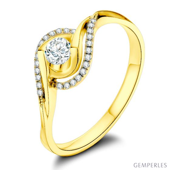 Bague or jaune diamants 0.25 carat - Chateaubriand, Clarisse