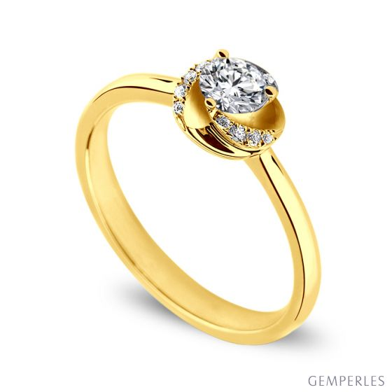 Solitaire tourbillonnant or jaune - Diamants sertis griffes, grains