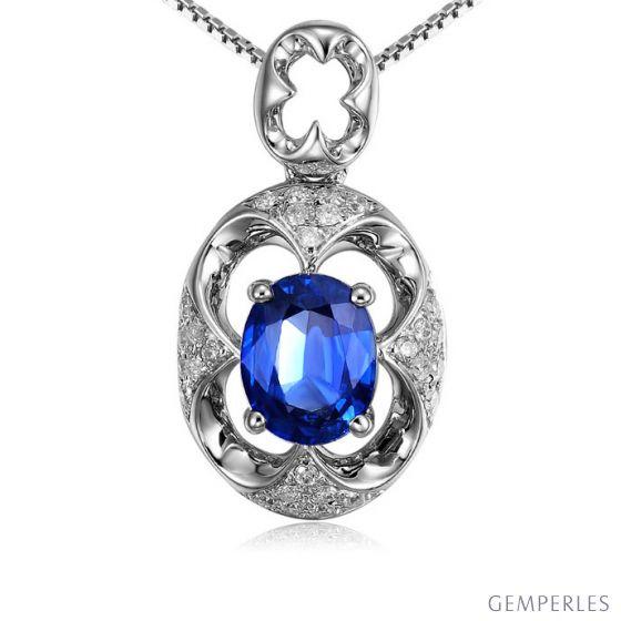 Pendentif Saphir et Diamants - Or blanc 18 carats