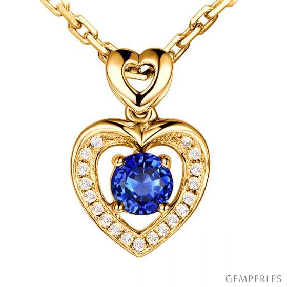 Pendentif Coeur saphir et diamants. Or jaune