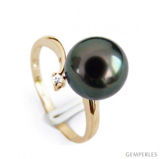 Bague Wood Cay - Perle de Tahiti noire - Or jaune, diamant