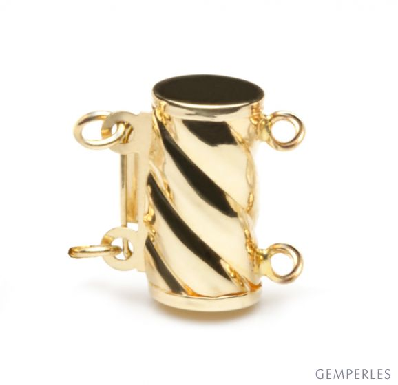 Cilindro : Fermoir cylindre Or jaune 14 carats. Forme tubulaire avec torsade