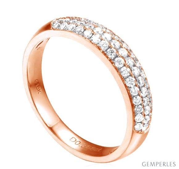 Alliance bombée Or rose 18 carats. 49 diamants 0.388ct