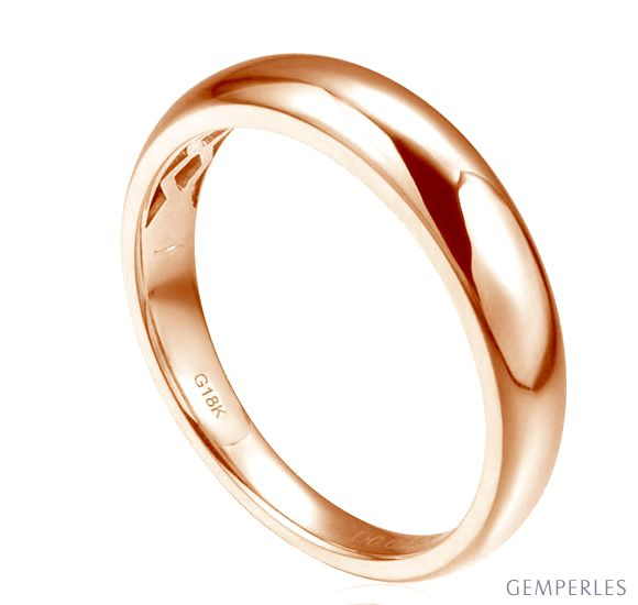 Alliance bombée Or rose 18 carats Messieurs. 1 diamant 0.010ct