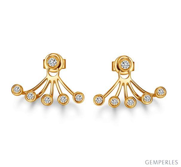 Puces et pendants or jaune diamants. Tentacules