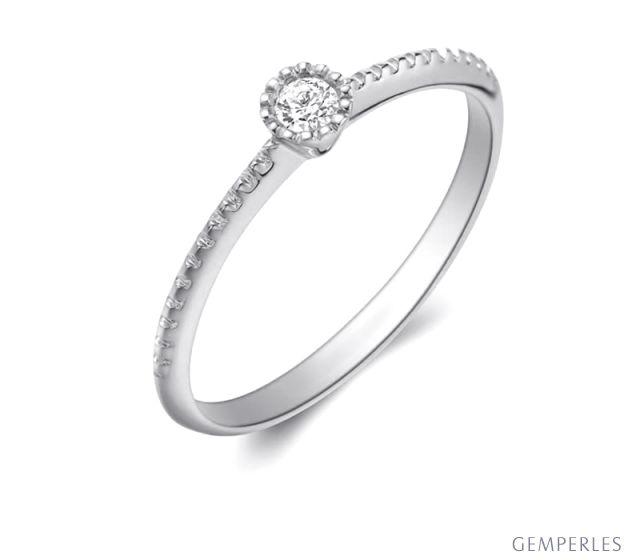 Bague solitaire diamant tressée Or blanc
