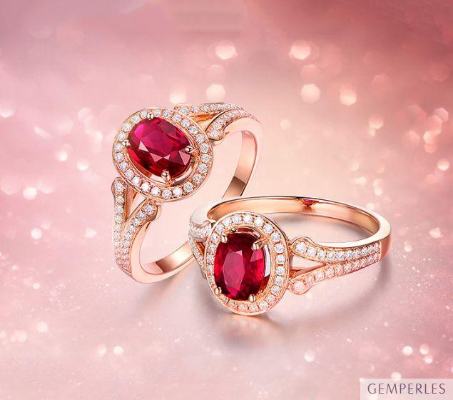 Bague Mogok, rubis de Birmanie.  Or rose et diamants - 2