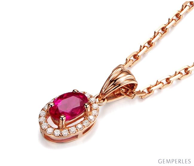 Pendentif Madame Or rose 18 carats. Rubis ovale diamants pendeloque