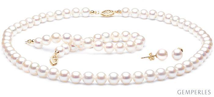 Collier, bracelet et boucles Perles Chine, 7/9mm. Or jaune