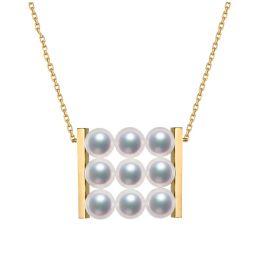 Pendentif 9 perles Akoya. Rails or jaune. Perles damier. Tezuka