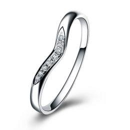Alliance ondulée Élysée - En or blanc et diamants sertis