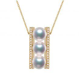Pendentif 3 perles Akoya. Barettes or jaune sertis diamants. Otohiko