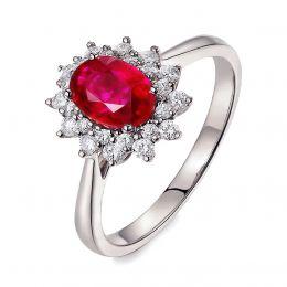 Bague rubis Or blanc. Double pavage diamants. Inspiration florale