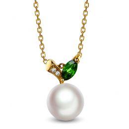 Pendentif perle Akoya. Or jaune, diamants et Péridot