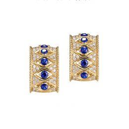 Boucles Oreilles Or jaune, saphir & diamant