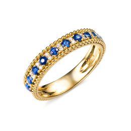 Bague saphir - Tempietto - Or jaune, diamant, saphir
