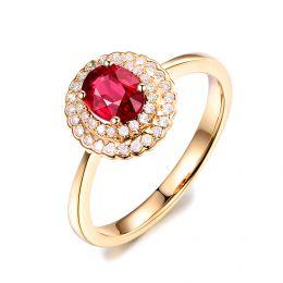 1 rubis, des diamants et de l'or jaune : Bague Florali