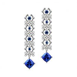 Boucle d oreille tanzanite & saphir bleu, diamant - Or blanc