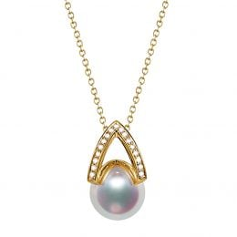 Pendentif perle Akoya Japon - Diamant, Or jaune - Masako