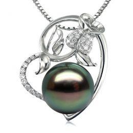 Pendentif rose forme coeur - Perle de Tahiti - Or blanc, diamants pavés