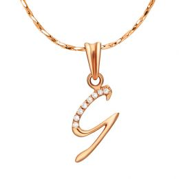 Pendentif chiffre 9 - Or rose 18cts - Diamants 0.016ct