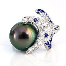 Bague étoile de mer - Perle de Tahiti - Or blanc, diamants, saphirs