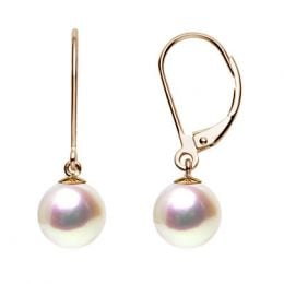 Boucles dormeuses perles eau douce blanches - AAA - Or jaune