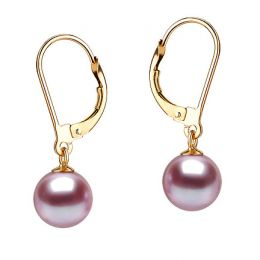 Boucles d'oreilles or jaune type dormeuse - Perles lavandes - 8/9mm