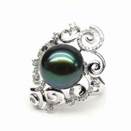 Bague Weddel - Perle de Tahiti - Or blanc, diamants sertis griffes