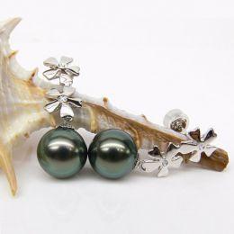 Boucles oreilles fleurs - Pendants perles Tahiti bleus vertes - Or blanc