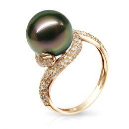 Bague perle de polynésie, Tahiti - Or jaune, diamants micro sertis