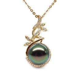 Pendentif Nature - Branche, feuillage - Perle de Tahiti - Or jaune