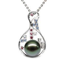Pendentif constellation - Perle de Tahiti - Or blanc, topaze, diamants
