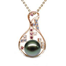 Pendentif constellation - Perle de Tahiti - Or jaune, topaze, diamants